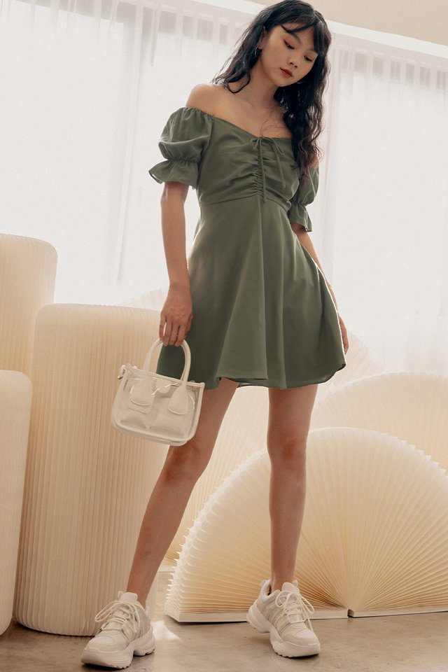 RIDLEY DRESS IN DUSK OLIVE