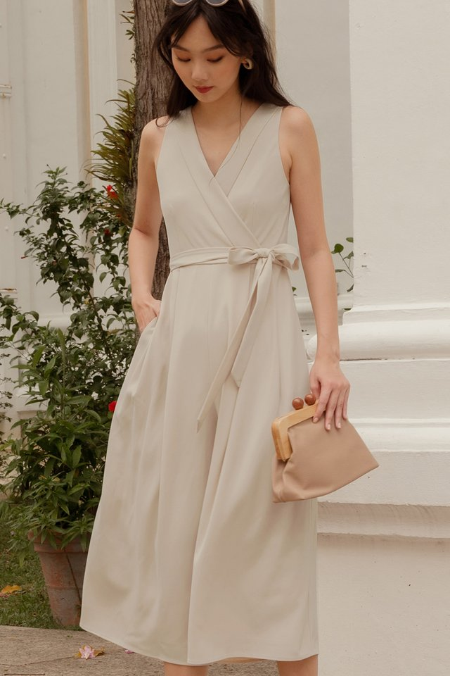 BRYTON LAPEL JUMPSUIT IN ALMOND