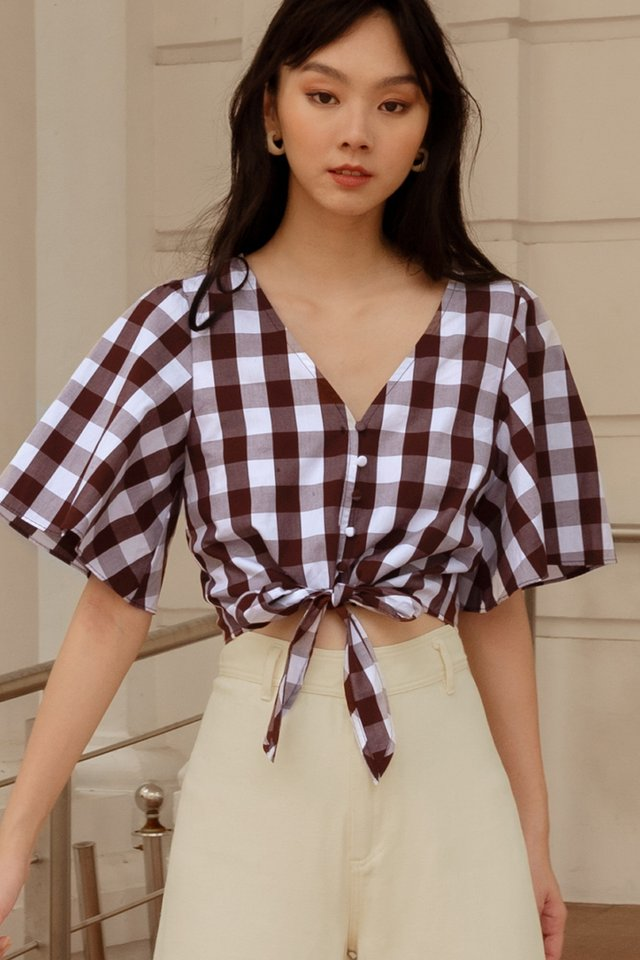 CALLEE GINGHAM TOP IN CHOCOLATE