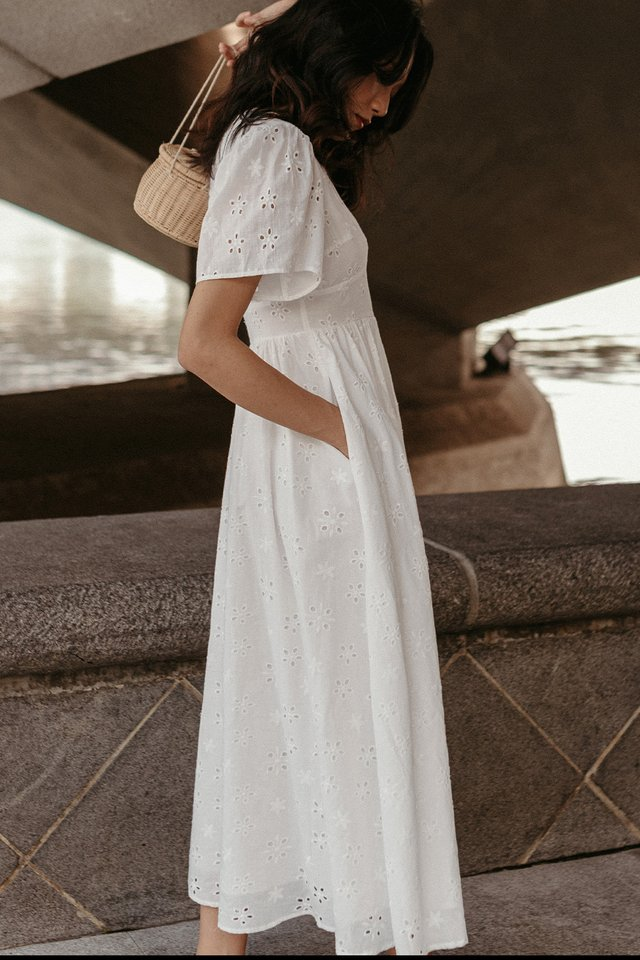 *BACKORDER* CAMILO EYELET MAXI IN WHITE