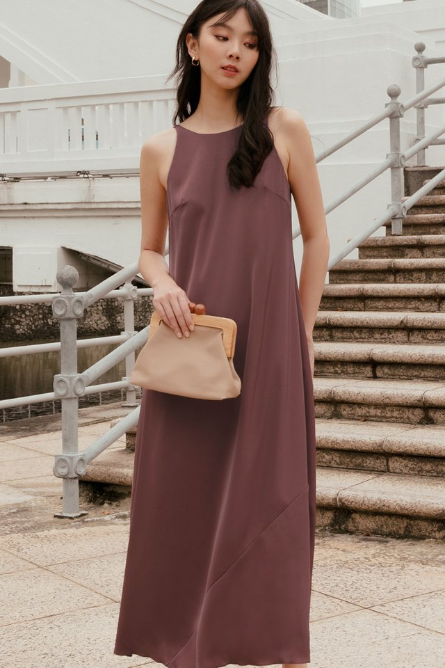 KORA SATIN MAXI IN GRAPE