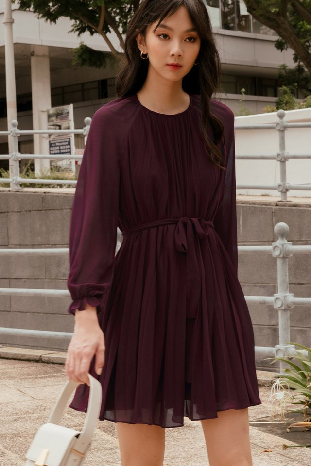 LUCA PLEAT DRESS IN OXBLOOD