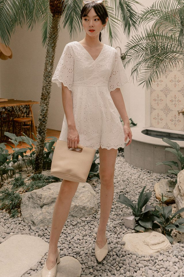 ATHENS EYELET PLAYSUIT IN WHITE