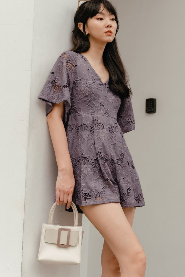 *BACKORDER* EITEL CROCHET PLAYSUIT IN DUSK PERIWINKLE