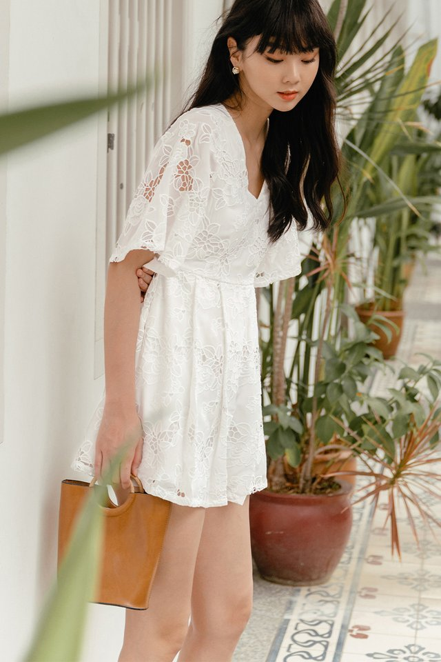 *BACKORDER* EITEL CROCHET PLAYSUIT IN WHITE