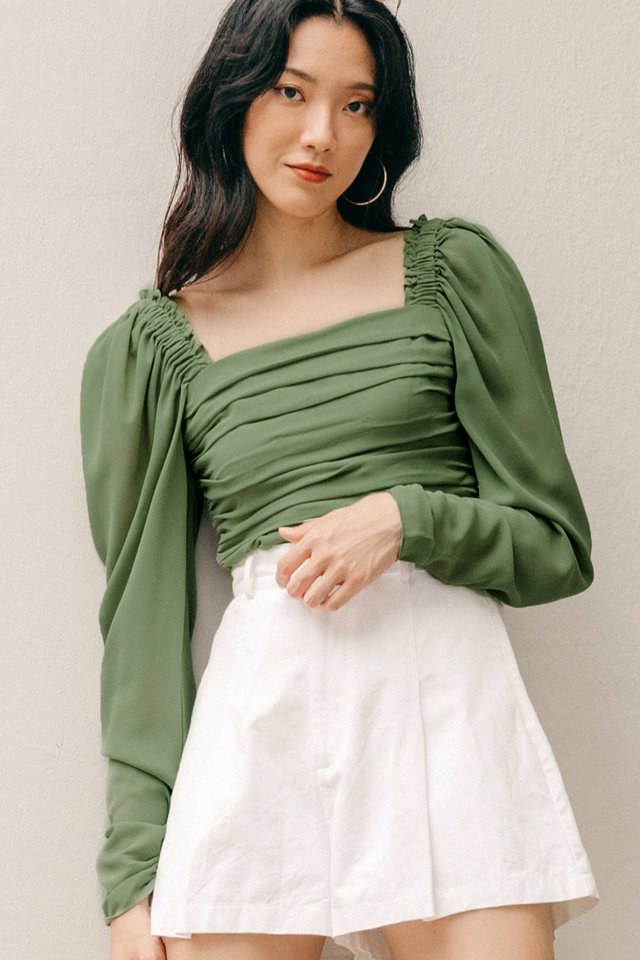 KARTER PLEAT TOP IN PISTACHIO