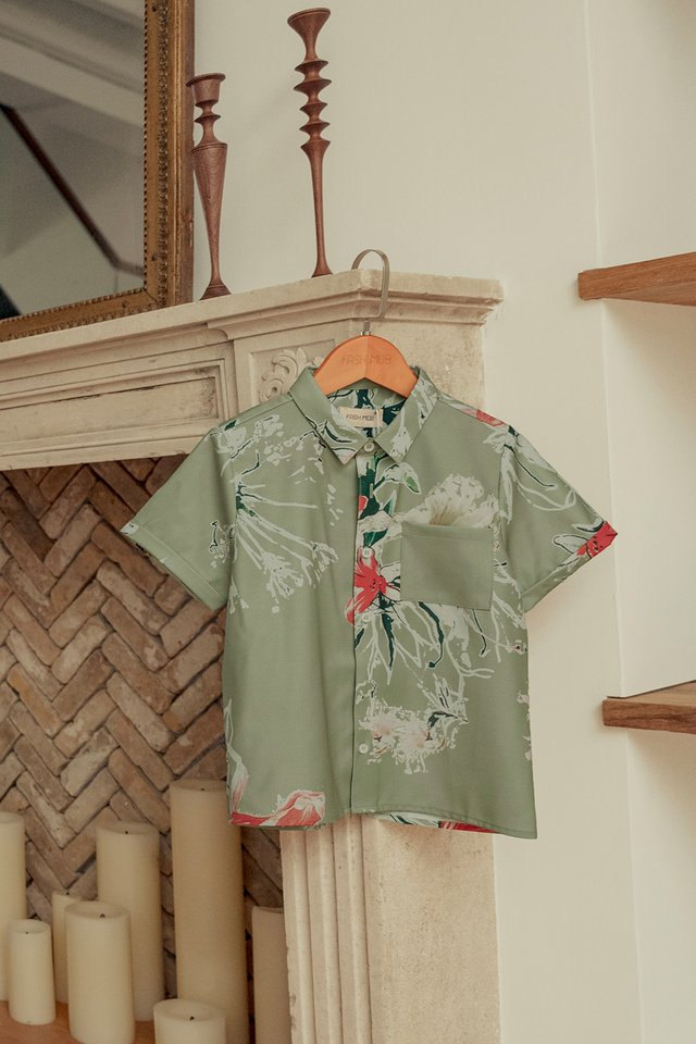 *KIDS* AUDEL SHIRT IN PISTACHIO