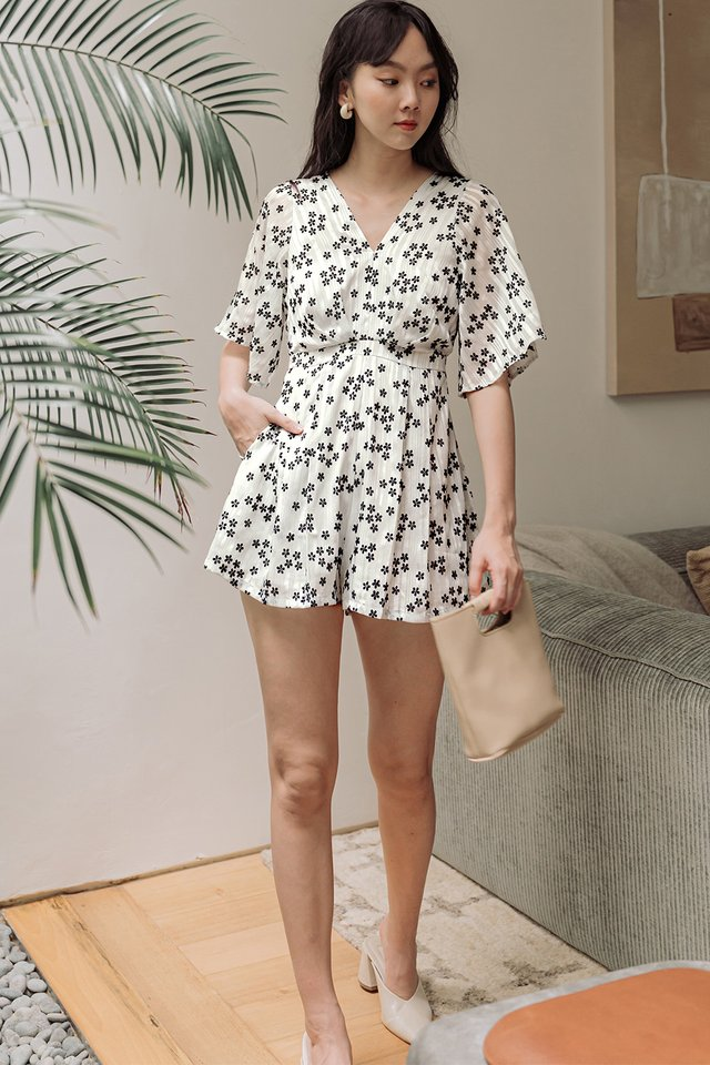 MACIE ORGANZA PLAYSUIT IN WHITE