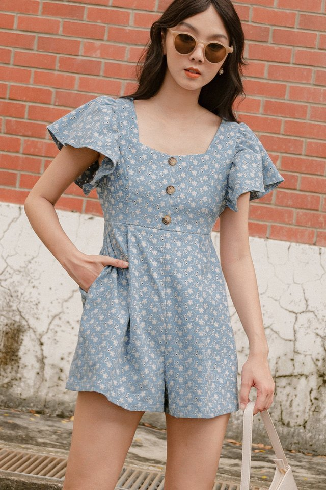 *BACKORDER* RENEE EMBROIDERY PLAYSUIT IN ASH BLUE