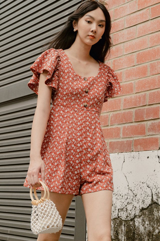 *BACKORDER* RENEE EMBROIDERY PLAYSUIT IN RUST (S-XL)