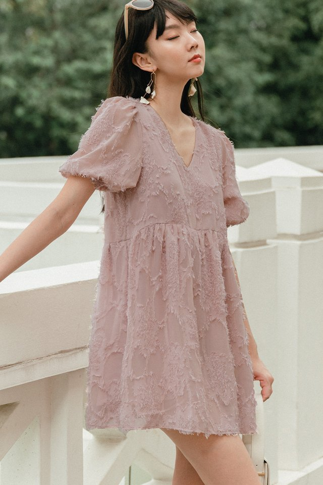 *BACKORDER* SANDOR BABYDOLL PLAYSUIT DRESS IN ASH PINK