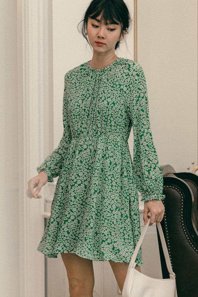 AUDRINA DRESS IN GREEN