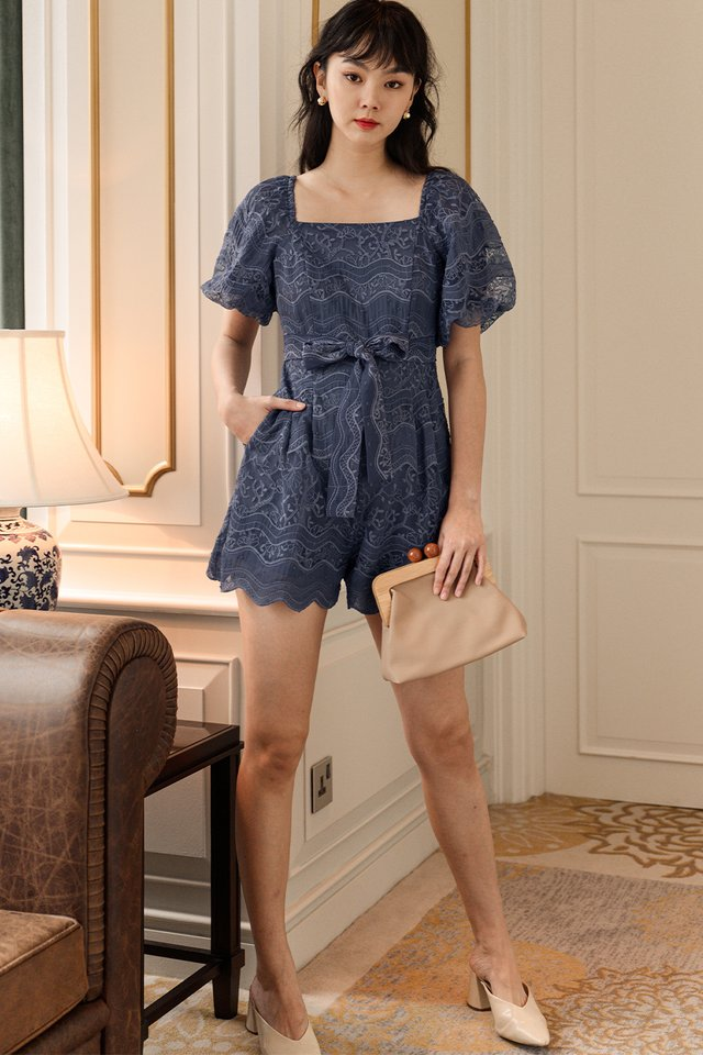 *BACKORDER* EMBER EMBROIDERY PLAYSUIT IN DUSK PERIWINKLE