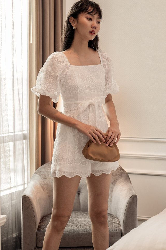*BACKORDER* EMBER EMBROIDERY PLAYSUIT IN WHITE
