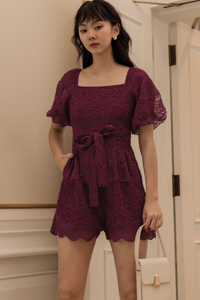 EMBER EMBROIDERY PLAYSUIT IN WINE