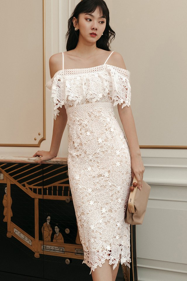 *BACKORDER* KARLEE CROCHET MIDI IN WHITE