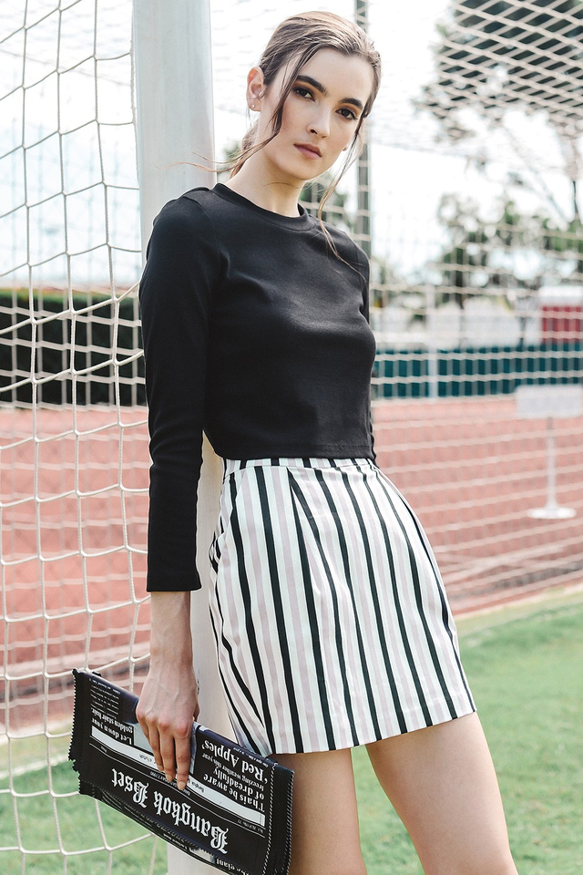 *BRIDGE* ORIOLE STRIPED SKIRT IN PINK BLACK
