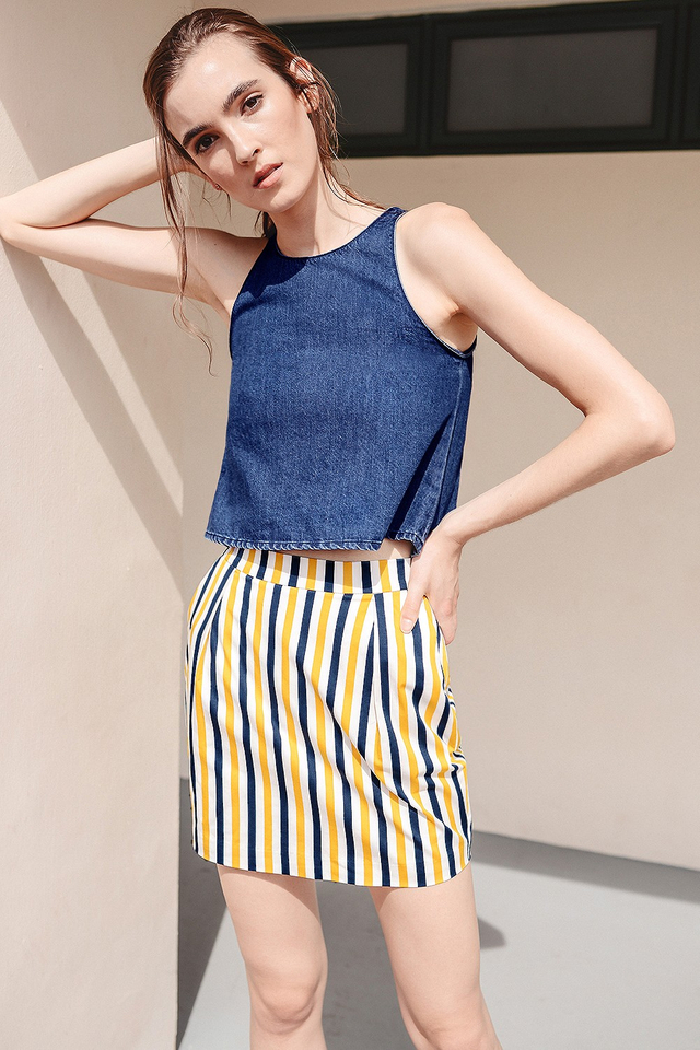 *BRIDGE* ORIOLE STRIPED SKIRT IN YELLOW NAVY