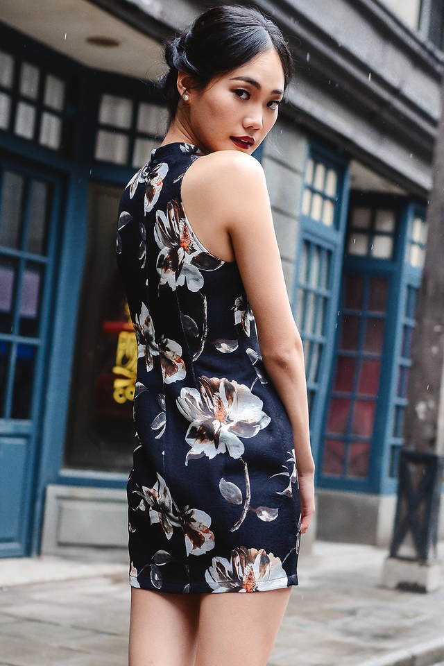 *BRIDGE* NOTRE CHEONGSAM DRESS IN NAVY
