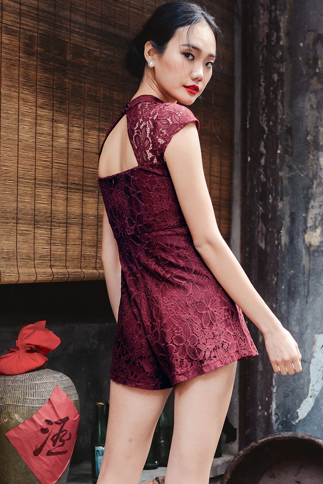 *BRIDGE* CHEONGSAM PLAYSUIT IN WINE