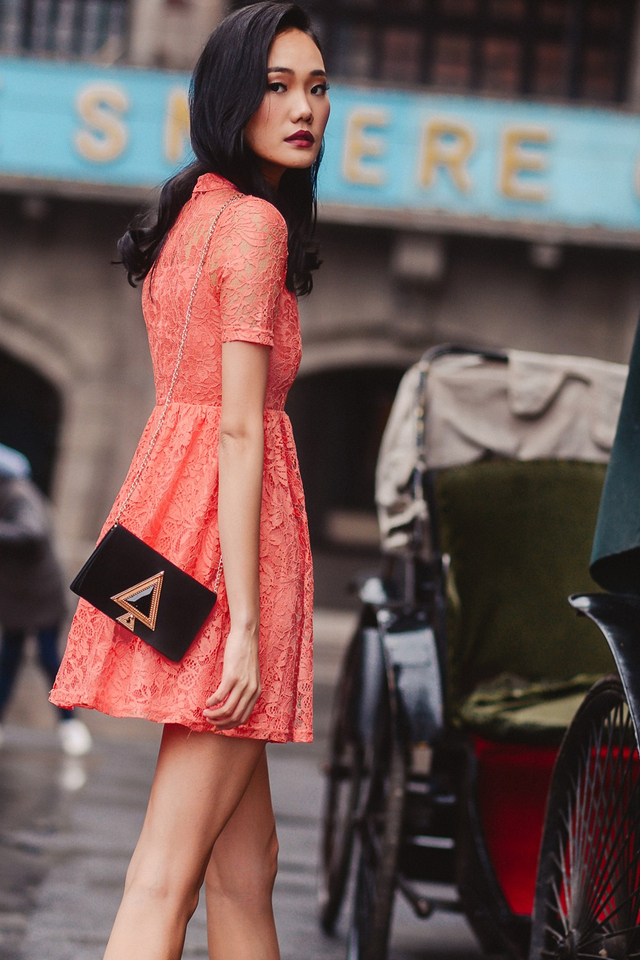 *BRIDGE* TOBY LACE DRESS IN CORAL