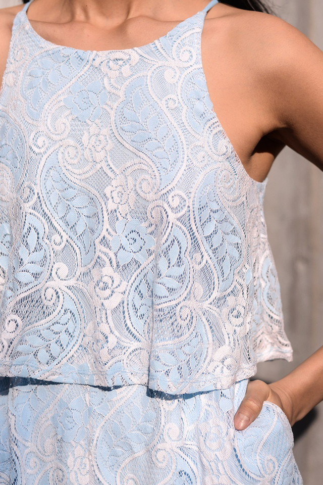 *BRIDGE* PAISLEY LACE PLAYSUIT IN POWDER BLUE