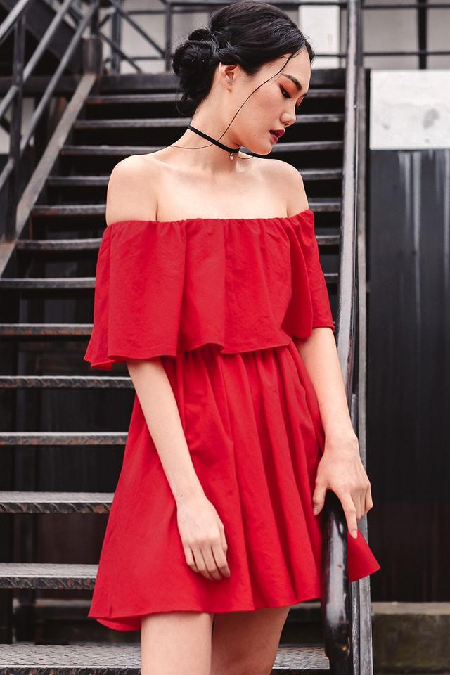 *BRIDGE* FRASER BELTED DRESS IN RED