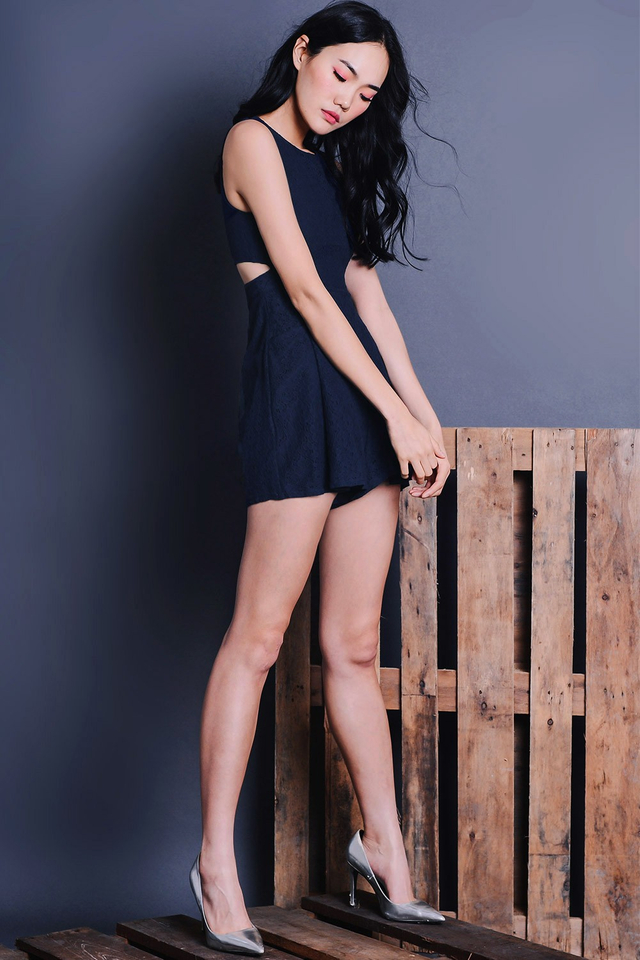 CALATHEA PLAYSUIT IN NAVY