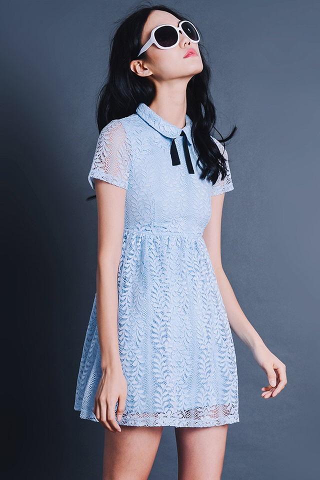 ASTER LACE DRESS IN POWDER BLUE