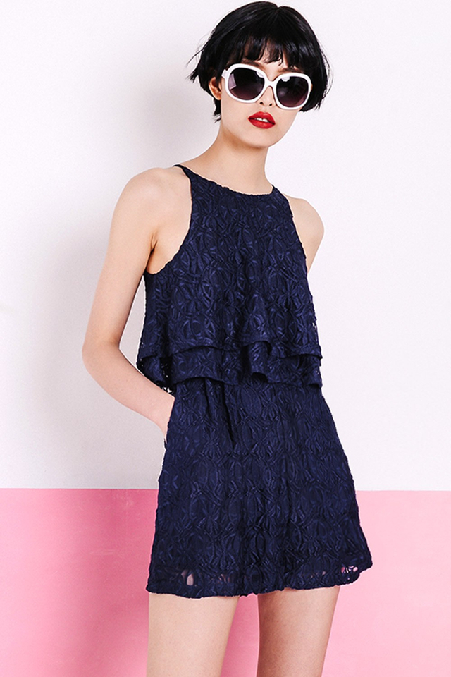 ODELIA LACE PLAYSUIT IN NAVY