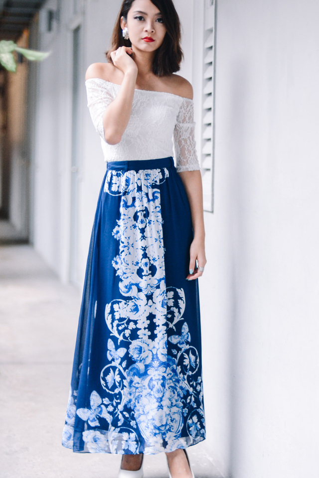 *BRIDGE* Aurora Maxi Skirt in Blue
