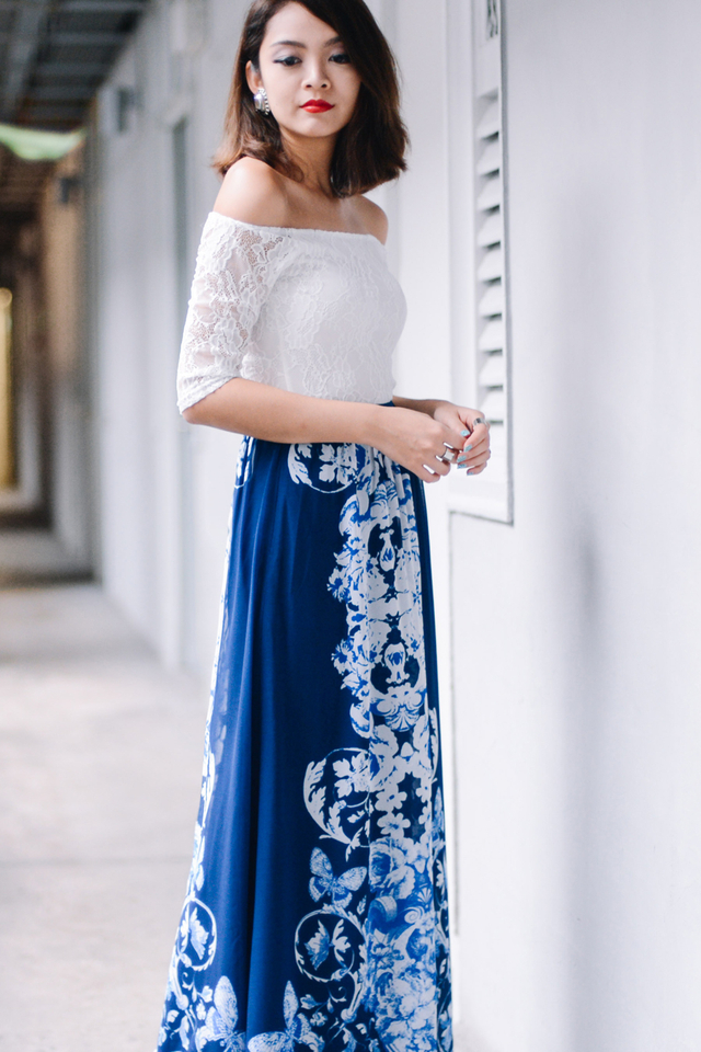 *BRIDGE* Aurora Maxi Skirt in Blue
