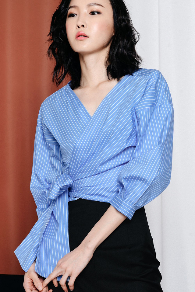 NATHALIE STRIPED TOP IN BLUE