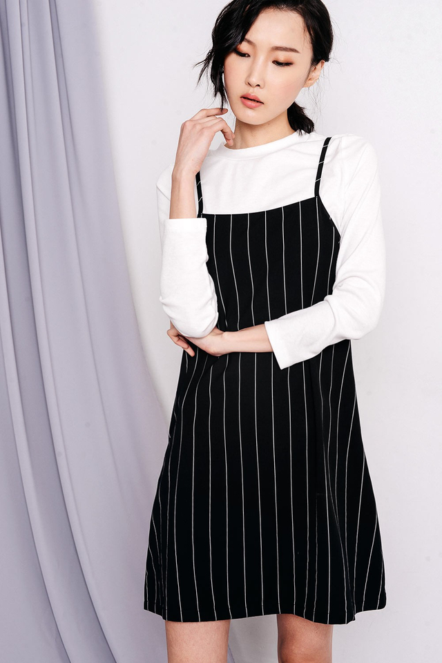 QUENTIN STRIPED DRESS IN BLACK