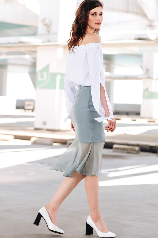 ADRA SLIT SKIRT IN ASH BLUE