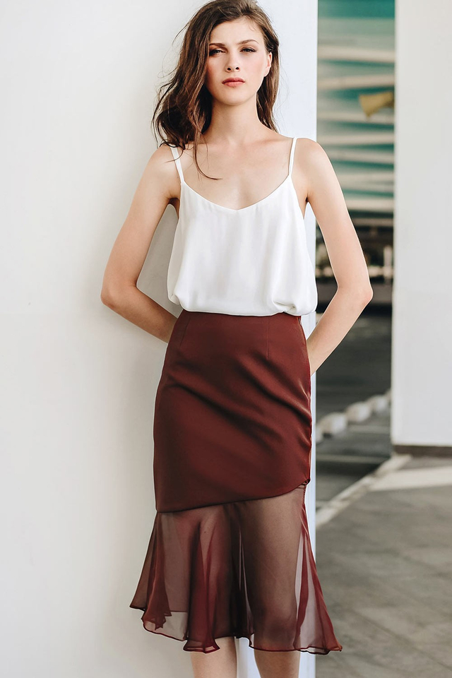 ADRA SLIT SKIRT IN AUBURN