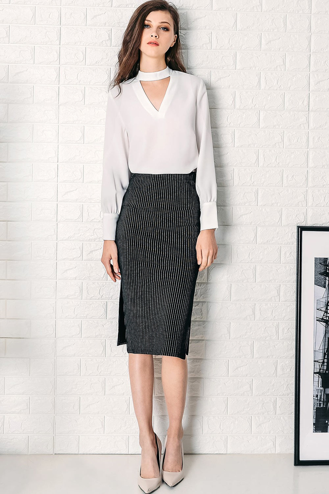SIDNEY STRIPED SKIRT IN BLACK