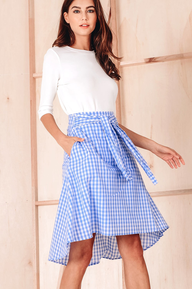 CASSIAR GINGHAM SKIRT IN BLUE