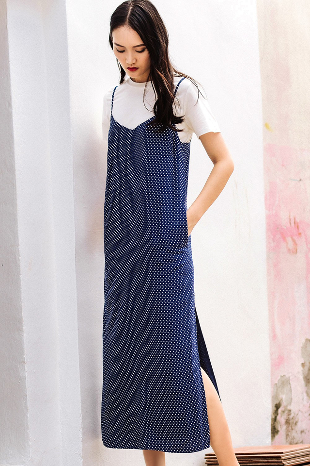 POLKA DOT SLIP MAXI IN BLUE
