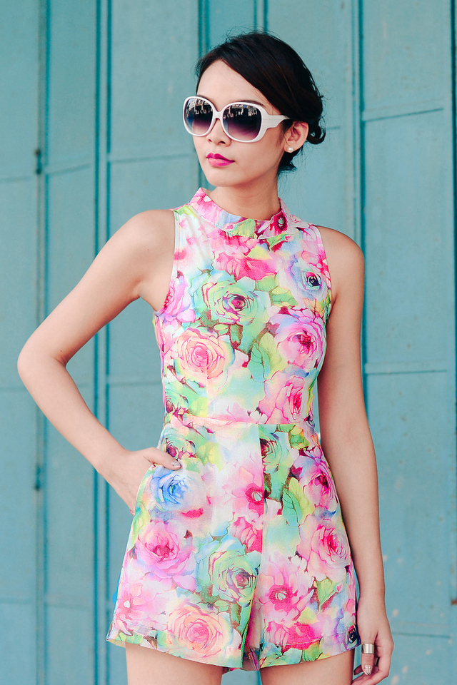 *BRIDGE* Colour Thy Roses Playsuit in Pink