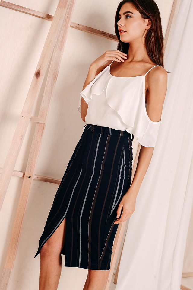 SOLANGE SLIT SKIRT IN NAVY