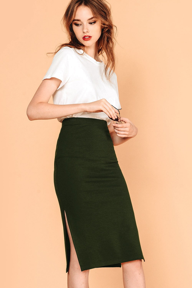 SIDNEY SLIT SKIRT IN MILITARY