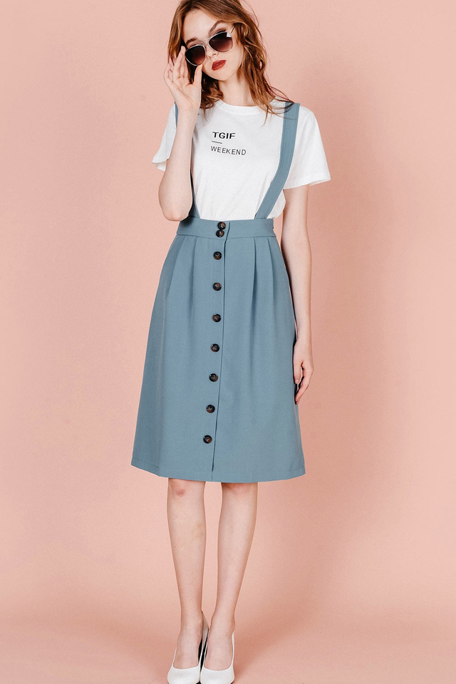 AGATHA SUSPENDERS SKIRT IN ASH BLUE