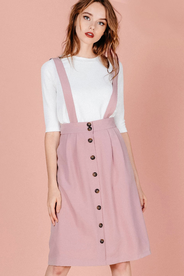 AGATHA SUSPENDERS SKIRT IN PINK