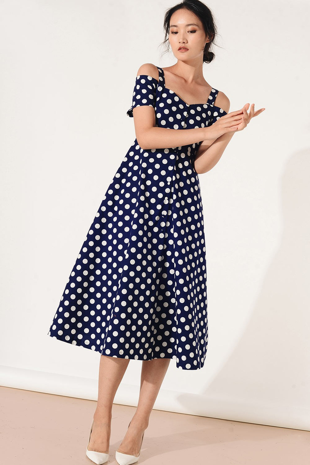 DAME POLKA DOT MIDI IN NAVY