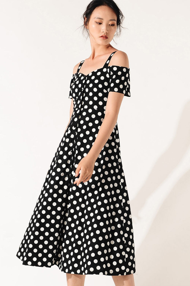 DAME POLKA DOT MIDI IN BLACK