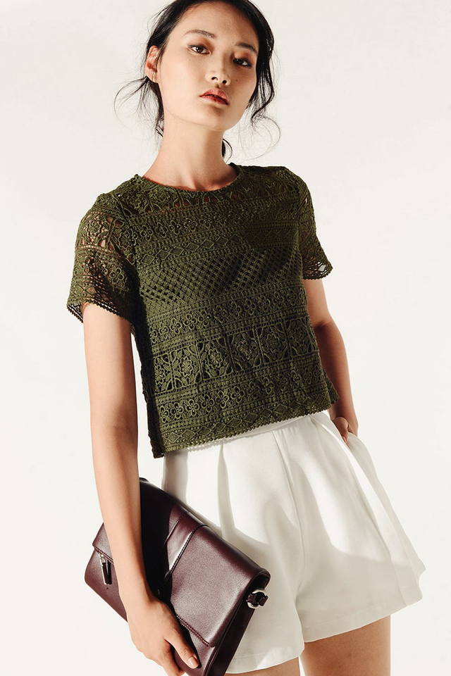 ORSAY CROCHET TOP IN OLIVE