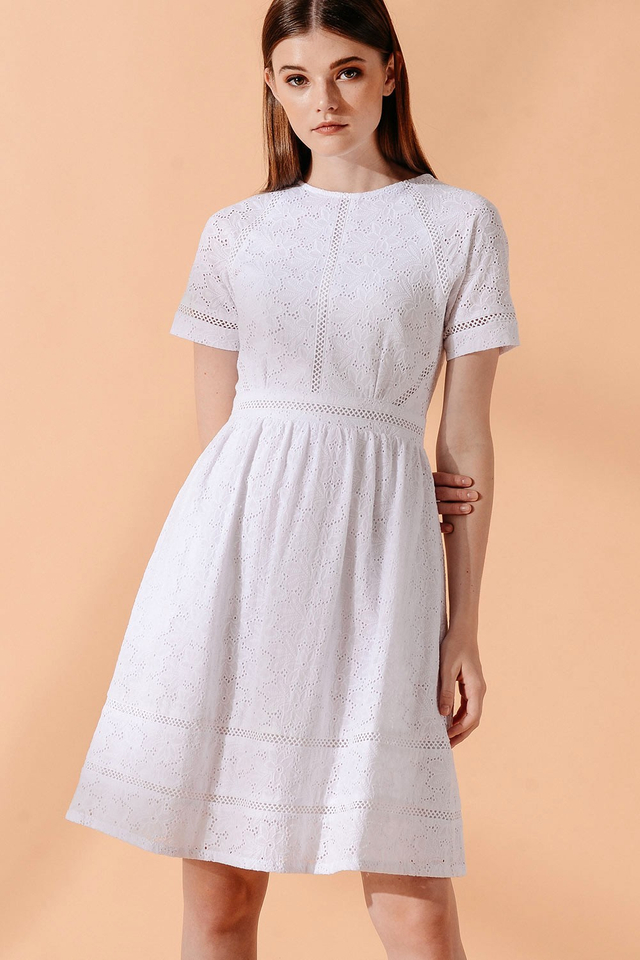 ANDRES EYELET DRESS IN WHITE