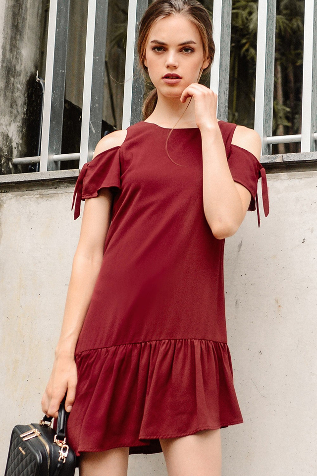 VERITY DRESS IN WINE RED