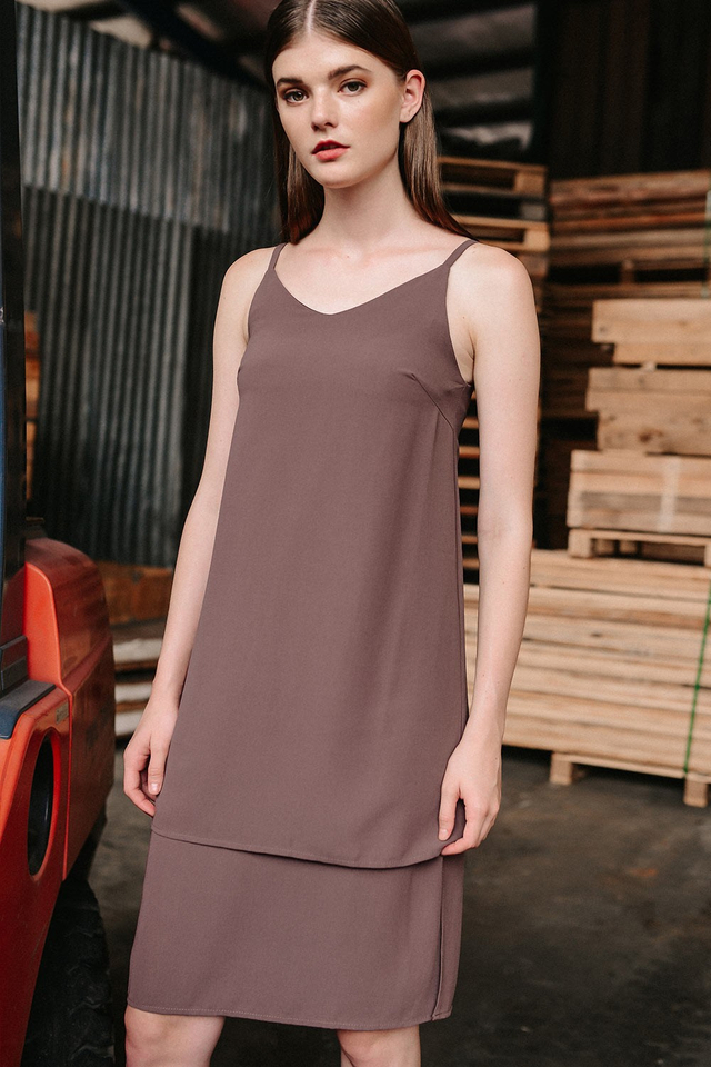 AUSTIN SLIT DRESS IN DUSK MAUVE